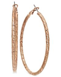 INC International Concepts | Pink Rose Gold-Tone Small Textured Hoop Earrings | Lyst