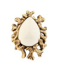 Oscar de la Renta | Metallic Coral-Branch Teardrop Ring | Lyst