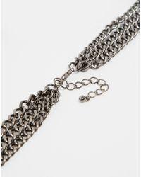 Monki   Metallic Multi Row Jewelled Necklace   Lyst