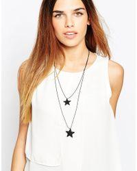 Pieces | Metallic Rapi Multirow Star Necklace | Lyst