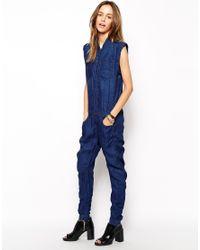 d9c3874308 Lyst - G-Star RAW Riley 3D Denim Jumpsuit in Blue