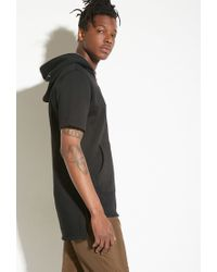 Forever 21 - Black Intd Longline Hoodie for Men - Lyst