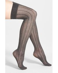 Vince Camuto | Gray Openwork Knit Thigh High Socks | Lyst