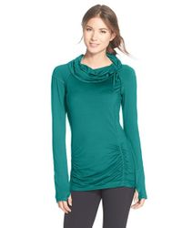 Zella - Green 'all Out' Ruched Pullover Top - Lyst