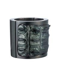 Nada Sawaya | J35 - Crocodile Stretch Cuff - Metallic Green | Lyst