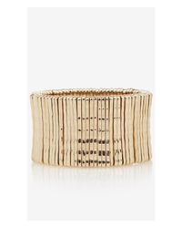 Express - Metallic Textured Metal Stretch Bracelet - Lyst
