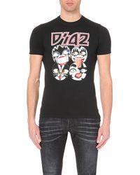 DSquared² - Kiss Printed Cotton T-shirt, Men's, Size: Xs, Black for Men - Lyst