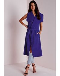 Missguided | Sleeveless Belted Waterfall Coat Blue | Lyst