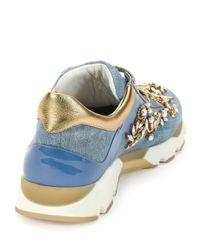 Rene Caovilla - Blue Crystal-embellished Denim Trainer - Lyst