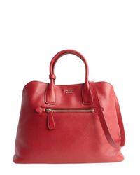 Prada - Red Leather Top Handle Split Compartment Tote Bag - Lyst