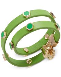 French Connection | Green Gold-Tone Hexagon Enamel Stud Double Wrap Leather Bracelet | Lyst