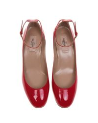 Valentino - Red 'tan-go' Low Heel - Lyst