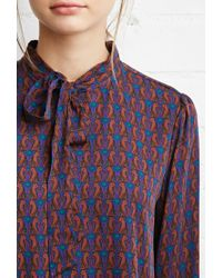 Forever 21 - Blue Cat Print Blouse - Lyst