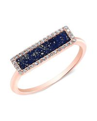 Anne Sisteron | Metallic 14kt Rose Gold Lapis Lazuli Diamond Bar Ring | Lyst