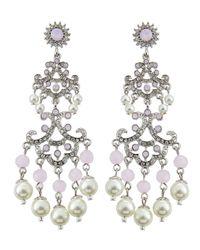 R.j. Graziano - Pink Rhinestone Chandelier Earrings - Lyst