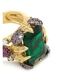 Anabela Chan | Green 'emerald' 18k Gold Solitaire Emerald Diamond Pavé Cocktail Ring | Lyst