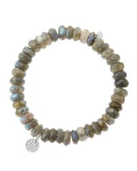 Sydney Evan - Gray 8mm Faceted Labradorite Beaded Bracelet with Mini White Gold Pave Diamond Disc Charm Made To Order - Lyst