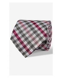 Express | Pink Multicolor Check Narrow Silk Blend Tie for Men | Lyst