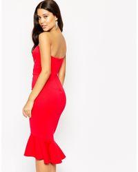 ASOS | Red Pephem Bandeau Midi Dress | Lyst