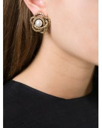 Oscar de la Renta - Metallic Navette Crystal Drop Clip Earrings - Lyst