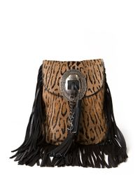 Saint Laurent - Brown Anita Leopard Fringe Bag - Lyst