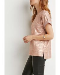 Forever 21 | Pink Metallic-brushed Tee | Lyst