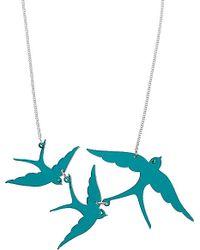 Tatty Devine - Blue Swallow Triple Swarovski Necklace - For Women - Lyst