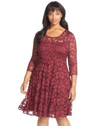 Chetta B | Purple 'magic' Lace Fit & Flare Dress | Lyst
