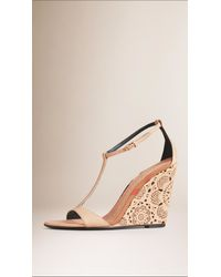 Burberry - Natural Lace-Look Leather Wedge Sandals - Lyst