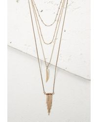 Forever 21 - Metallic Layered Faux Stone And Matchstick Necklace - Lyst