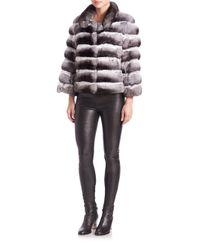 Saks Fifth Avenue - Gray Chinchilla Fur Jacket - Lyst