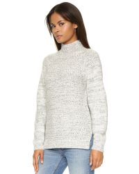 DKNY - White Pure Long Sleeve Mock Neck Pullover - Chalk/black - Lyst