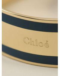 Chloé - Blue Logo Embossed Wide Bangle - Lyst