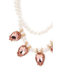 Forever 21 | Pink Faux Pearl Gemstone Necklace | Lyst