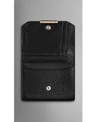 Burberry - Black Signature Grain Leather Card Case - Lyst
