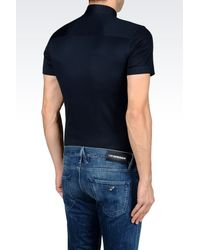 Emporio Armani - Blue Jersey Shirt for Men - Lyst