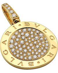 BVLGARI | Reva 18kt Yellow-gold Pendant With Pavé Diamonds | Lyst