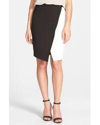 Halogen - Black Colorblock Faux Wrap Skirt - Lyst