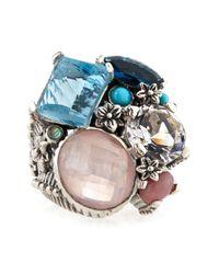 Stephen Dweck | Multicolor Blue Topaz Rose Quartz Crystal Ring Blue | Lyst