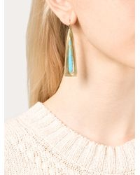 Irene Neuwirth   Blue 18kt Gold Turquoise Triangle Drop Earrings   Lyst