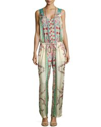 Johnny Was - Multicolor Chettl Sleeveless Printed Georgette Jumper & Single Strand Multi-bead Necklace - Lyst
