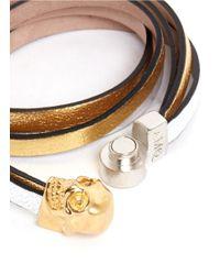 Alexander McQueen | Metallic Triple Strap Skull Leather Bracelet | Lyst