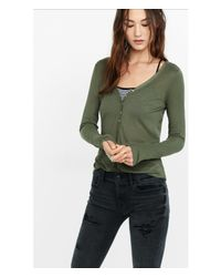 Express - Green White Ribbed One Eleven Henley Tee - Lyst
