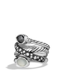 David Yurman | Metallic Grisaille Crossover Ring With Hematine, Moon Quartz, And Diamonds | Lyst