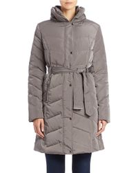 Cole Haan - Gray Faux Fur-collared Belted Coat - Lyst