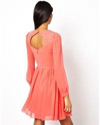 Little Mistress   Pink Skater Dress With Chiffon Yoke   Lyst