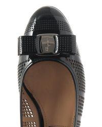 Ferragamo - Black Vara Lasercut Leather Pumps - Lyst