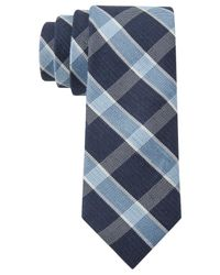 Tommy Hilfiger - Blue Plaid Linen-Silk Slim Tie for Men - Lyst
