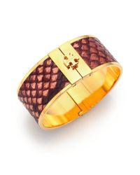 Tory Burch - Metallic Skinny Snake-Embossed Leather Inlay Cuff Bracelet - Lyst