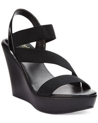 Charles by Charles David | Black Patty Platform Wedge Sandals | Lyst